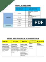 Matrices Variables, Metodologica y Operativa OSHIN