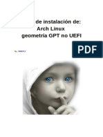 Instalación de Arch Linux GPT No UEFI 2016 2