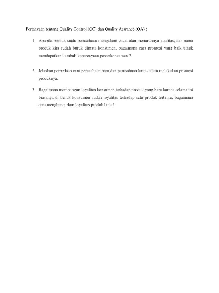 Pertanyaan Tentang Quality Control Guru Galeri