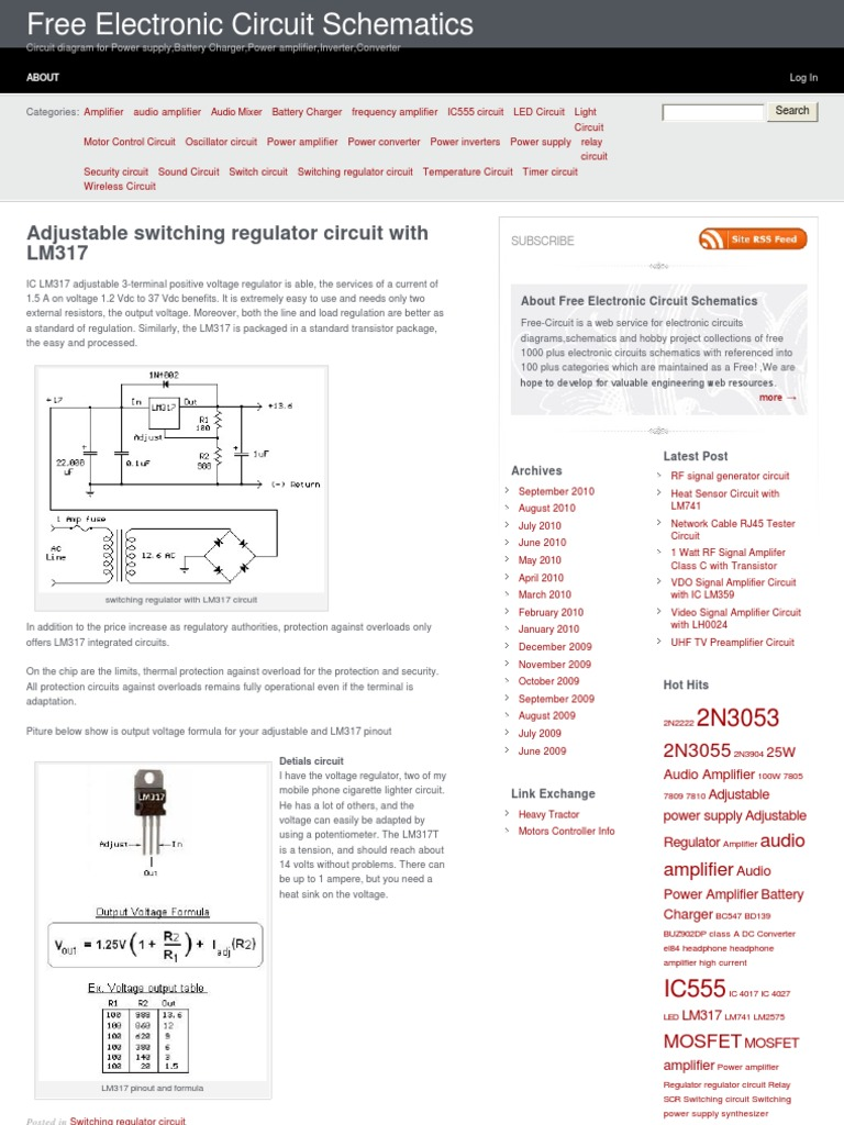 Adjustable Switching Regulator Circuit With Lm317 Electronic Simple Audio Amplifier Diagrams Circuits