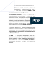 Política Para La Evaluación de Proveedores de Mishell Paris Sac