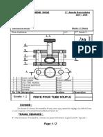 1ère Année Secondaire 0708 - Devoir de contrôle N°2-Coupe simple-Filetage-dessin densemble