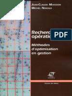 Recherche Opérationnelle _ Méthodes d'Optimisation en Gestion-PRESSES de L'ECOLE DES MINES