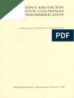 Edicion y Anotacion de Textos Coloniales Hispanoam