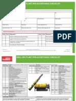 Drill Rig Plant Pre Acceptance Checklist