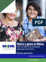 Sintesis Ejecutiva Pobreza y Genero 2010 - 2016