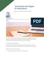 El Plan de Prevención de Riesgos Laborales en Siete Pasos