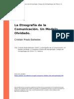 Cristian Prado Ballester (2007). La Etnografia de La Comunicacion. Un Modelo Olvidado