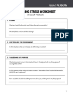 Managing Stress Worksheet
