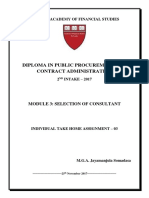 Problems found in selection and employment of Consultants