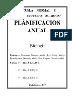 Planificación Anual de Biologia 2017