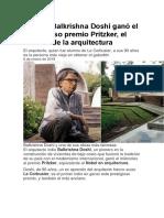 El Indio Balkrishna Doshi Ganó El Prestigioso Premio Pritzker