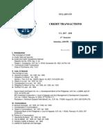 Syllabus on Credit Transcations
