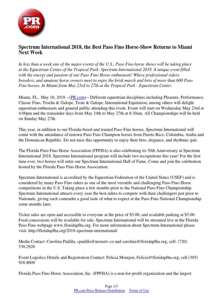 Spectrum International 2018, the Best Paso Fino Horse-Show