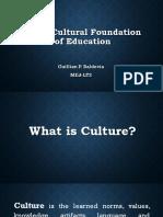 Socio-Cultural Foundation of Education - Report Feb 17, 2018