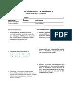 Primera Evaluacion Mensual de Matematica 1 Sec