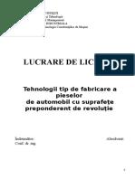 Tehnologii Tip de Fabricare a Pieselor de Automobil Cu Suprafete Preponderent de Revolutie