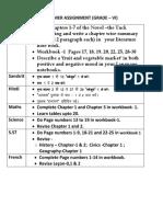 Summer Holiday Homework Grade -Vi,Vii,Viii