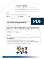 Evaluación MULT Y division de decimales  y fracciones en z