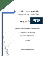 Lei do Voluntariado - Uma crítica à Lei 9.608 e suas alterações