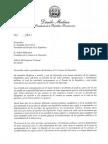 Carta enviada por el presidente Danilo Medina a los presidentes del Senado y de la Cámara de Diputados sobre la Ley de Partidos