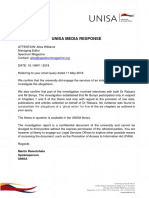 Unisa Statement on Paul Ratsara Investigation
