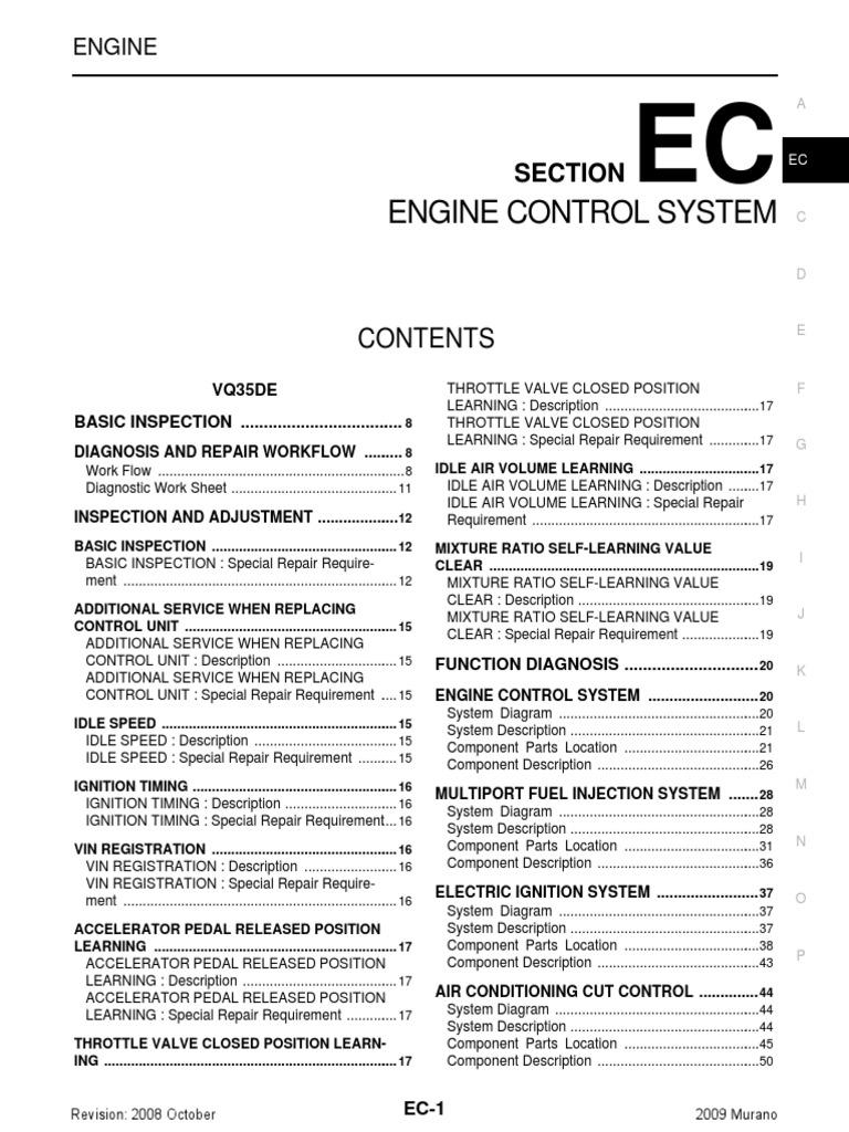 Nissan Murano 2009(1) | Acelerador | Máquinas giratorias