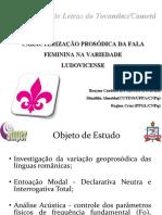 Caracterização Prosódica da Fala Feminina na Variedade Ludovicense