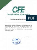 Criterios y Lineamientos de Otorgamiento de Donaciones de Bienes Muebles Que Realice CFE EPS y Sus EF