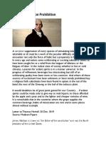 James Madison on Prohibition