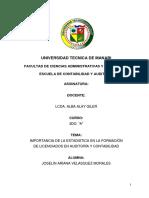 IMPORTANCIA DE LA ESTADISTICA EN LA FORMACIÓN  DE LICENCIADOS EN AUDITORÍA Y CONTABILIDAD