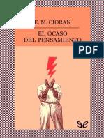 El Ocaso Del Pensamiento E. M. Cioran