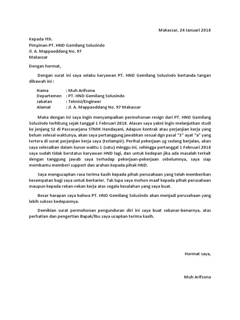 Contoh Surat Resign Doc Autosaved