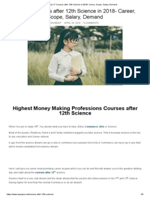 Top 17 Courses After 12th Science In 2018 Career Scope Salary Demand Pdf Bachelor Of Science Academic Degree