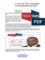 Yeboah Evans and His Three Remarkable Pledges for BCA Presidential Election 2018