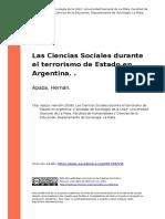Apaza, Hernan (2008). Las Ciencias Sociales Durante El Terrorismo de Estado en Argentina