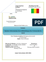 La Gestion Informatise de la Bibliothèque de l'université du Sahel(Mali)