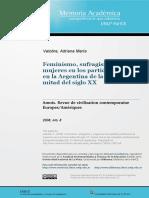 Valobra, Adriana - Feminismo, Sufragismo y Mujeres en Los Partidos Políticos en Argentina (...)