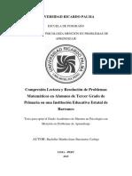 (Internacional) Comprensión Lectora y Resolucion de Problemas Matemáticos Tercer Grado