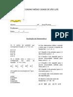 Prova Matemática 1º Ano - Vespertino