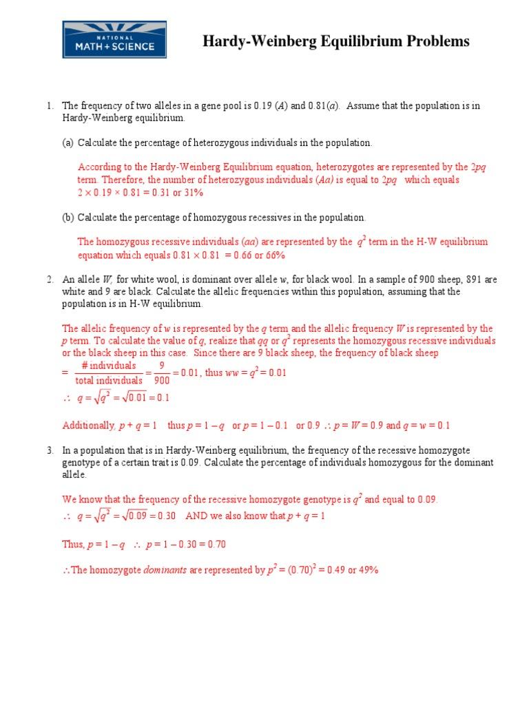 Hardy Weinberg Problem Set KEY | Zygosity | Allele