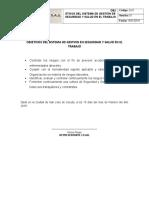 D-01 Objetivos Del Sistema de Gestion en Seguridad y Salud en El Trabajo
