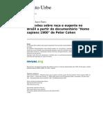Reflexoes Sobre Raca e Eugenia No Brasil