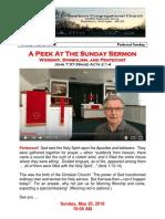 Pastor Bill Kren's Newsletter - May 20, 2018