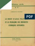 Constantin Papanace - Le droit d'asile politique et le probleme des minorites opprimes - 1956