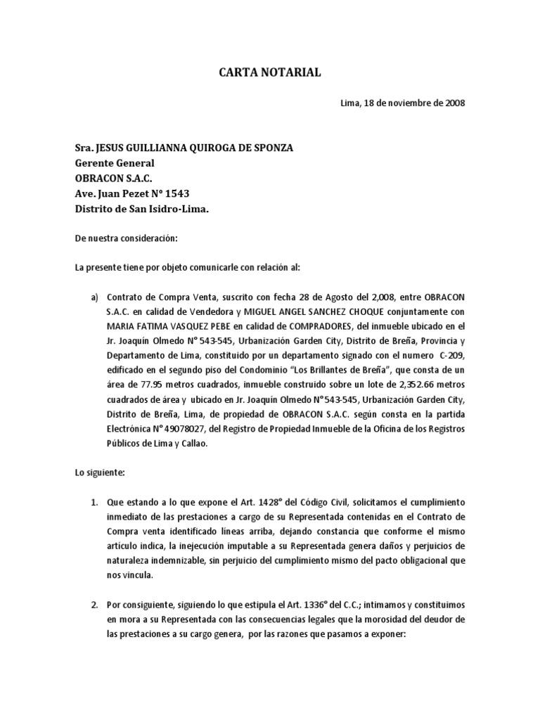 Carta Notarial Modelo Virtude Informação Governamental