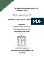 Modelo de Objetos ANSI-IsA 95 Elaboración de Salsa de Tomate