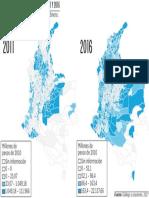Distribución de las regalías en 2011 y 2016