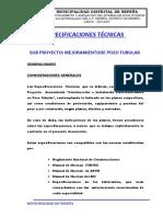 Especificaciones de Pozo Tubular