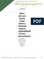 LOUREIRO, T. C. Obra de Luiz Costa Lima Sobre a Mímesis Mostra Originalidade Do Seu Pensamento